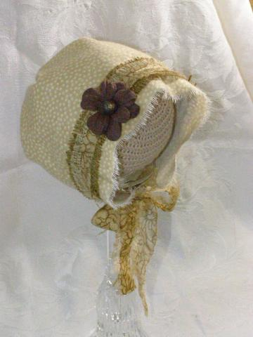 Flannel and Burlap Vintage Inspired Baby Bonnet Photography Prop