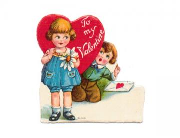 Valentine Card Vintage 1920s Stand Up Die Cut Greeting Girl Boy Daisy Heart