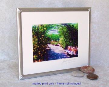 Rosy Bower Photoprint, 5x7 print matted to  8x10 inches overall