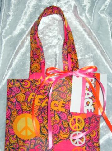 Summer Peace / Reusable Fabric Gift Tote / Ex Small / With Gift Tag