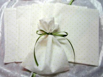 Swiss Olive / Set of 6  / Ribbon Tie Gift Bags / Great for Soaps / Candles / Jewelry / Lotions