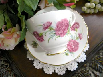Regency Bone China Pink Carnations Teacup Tea Cup and Saucer 7641