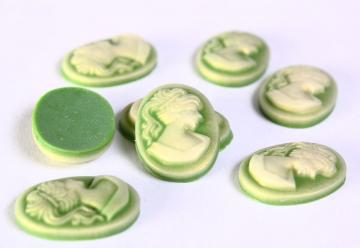 8 13mm x 18mm green resin cameo cab cabochon 8pc (681)