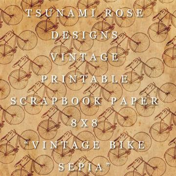 "8X8 Vintage Digital Printable Scrapbook Paper- ""Vintage Bike"" - Sepia"