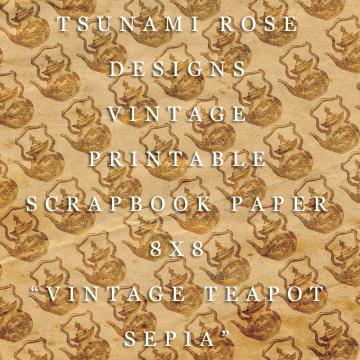 "8X8 Vintage Digital Printable Scrapbook Paper- ""Vintage Teapot"" - Sepia"