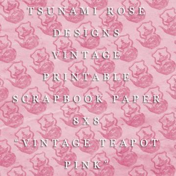 "8X8 Vintage Digital Printable Scrapbook Paper- ""Vintage Teapot"" - Pink"