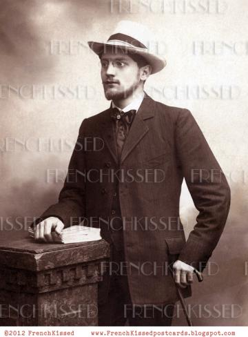 DIGITAL Scan Frenchman Portrait Man of Letters Antique Victorian Postcard photo download