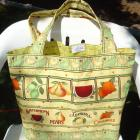 Fruit Print Market Bag from Re purposed Fabric