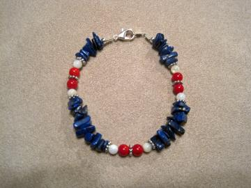 Lapis,Coral & Mother of Pearl Bracelet---Proceeds donated to Carter's Kids,Fighting Childhood Obesity by building playgrounds across America