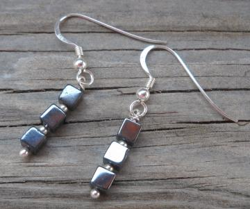 20mm length hematite beads  & 925 sterling silver wire handmade dangle earrings
