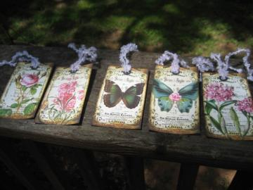 set of 9 vintage inspired flower and butterfly collage shabby gift hang tags