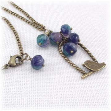Purple and Teal Beaded Bird Necklace