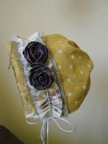 Harvest Gold Bonnet  with Beeswax Floral and Burlap Trim Baby Bonnet Photography Prop