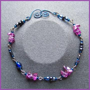 Blue Grey Grape Bracelet