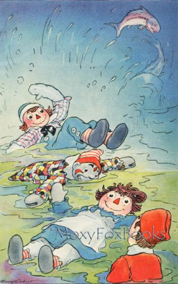 BOOK ILLUSTRATION 1929    Matted Raggedy Ann Swimming Colored Children's Book Plate with Custom Cut Mat  Johnny Gruelle Book  Free US Shipping