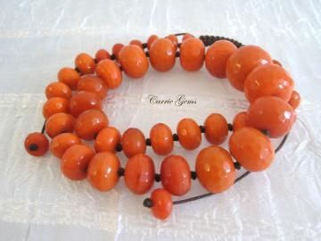 Orange Quartz Hand Knotted Necklace