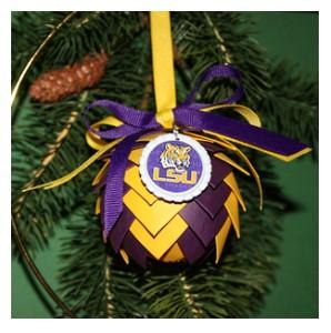 Louisiana State Univerisity Tigers Paper Pinecone Ornament