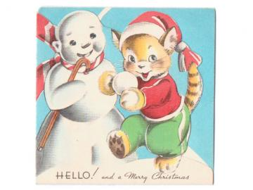 Christmas Card Vintage 1940s Greeting Snowman Cat Snowball Can Stocking Cap