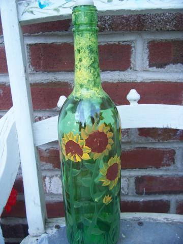 Sunflower Wine Bottle Oil Lamp
