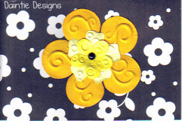 Yellow Flower on Black Greeting Card