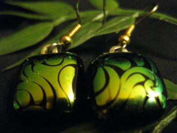 Nautilus green dichro handcrafted earrings
