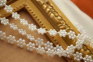 3 yards Flower Pearl Trim in White