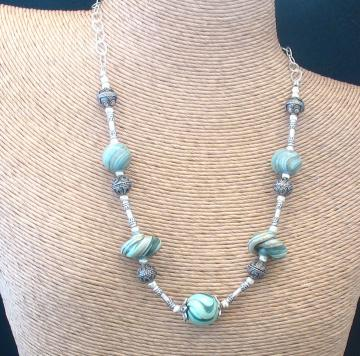 Turquoise Green Glass Swirls Necklace