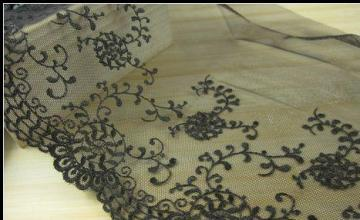 22cm brown colour Embroidery tulle lace trim 1 yard item no 11155