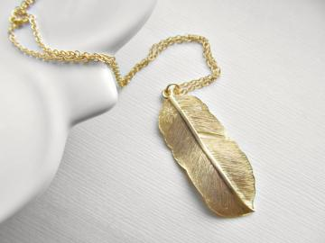 Modern  Rustic Tribal Feather  Long Necklace in Matte Gold