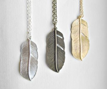 Trio Set of Modern  Rustic Tribal Feather  Long Necklaces Matte Gold, Silver, Antiqued Brass