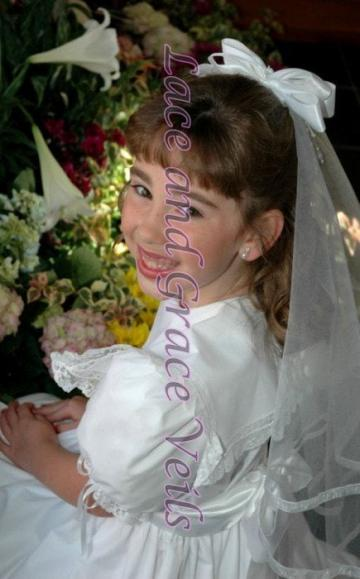 First Holy Communion Veil on Comb with Bow