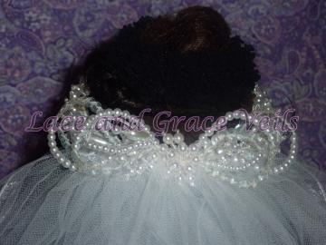 Sequin Leaves/Pearl Bun Wrap for Wedding with Fingertip Veil, choice of 4 lengths & 5 edges