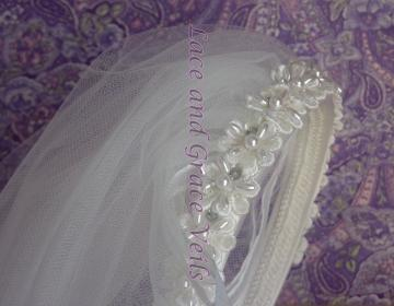 First Holy Communion Veil on Headband, White with Choice of Trim