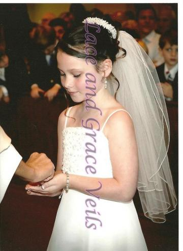 First Holy Communion Pearl Bun Wrap with Attached Veil, Rolled Edge