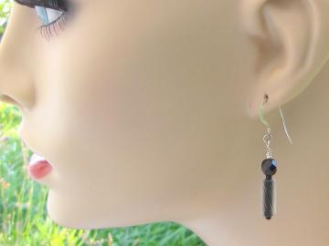 Earrings of Black Glass Canes