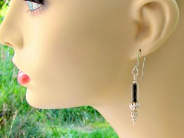 Earrings in Beads of Black and Sterling Silver