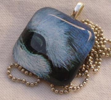 Glass Pendant Tile Blue Jay