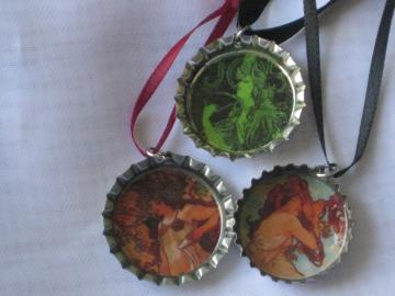 Bottlecap Pendants - Set of 3 -  Mucha Ladies