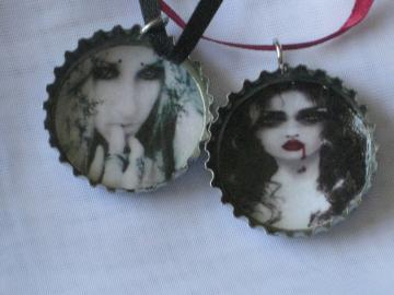 Bottlecap Pendants - Set of 2 -  Vampires