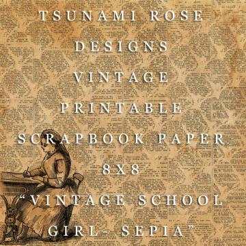 """8X8 Vintage Digital Printable Scrapbook Paper- """"Vintage School Girl- Sepia"""""""