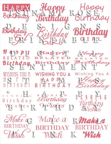 "Digital Sentiment Stamps- ""Happy Birthday"" Girl- Pink"