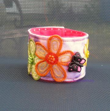 Butterfly flowers felted bracelet