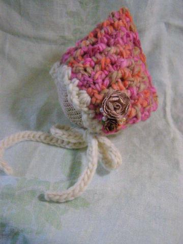 Crochet Newborn Weave Stitch Bonnet in Autumn Pinks with Mocha Roses and Pearl Beads Photography Prop