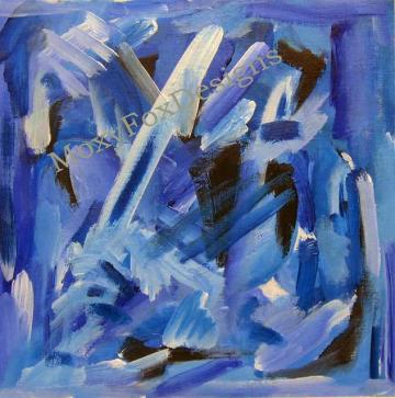 Art -- A FLURRY OF BLUEBIRDS Fine Art Print Abstract Blue Contemporary Vibrant Energetic