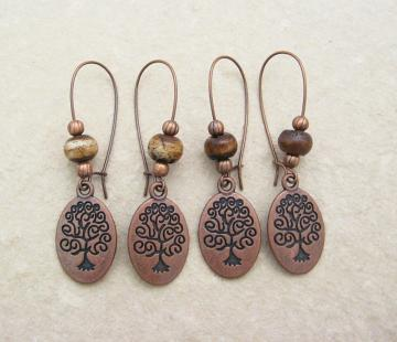 Copper Curly Tree earrings with wood and antiqued-copper beads on long ear-wires