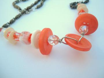 Orange Creamsicle Vintage Buttons One Of A Kind Necklace