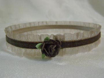 Newborn Tiny Brown Ruffled Headband with Tiny Flower