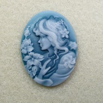 Flower Girl Blue Resin Cameo 40x30mm Ships from the US. International Shipping.