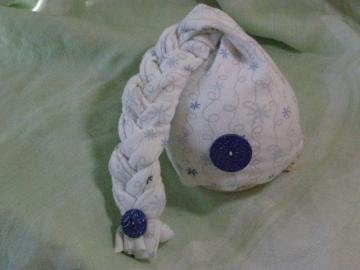 Upcycled Newborn Baby Boy Blue and White Braided Elf Photography Prop Hat