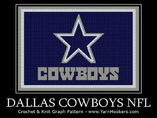 Dallas Cowboys NFL -  Afghan Crochet Graph Pattern Chart
